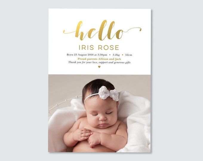 Hello, Gold Birth Announcement Card - gender neutral / Gold Foil Birth Announcement Thank You Card with photo / Newborn thank you card