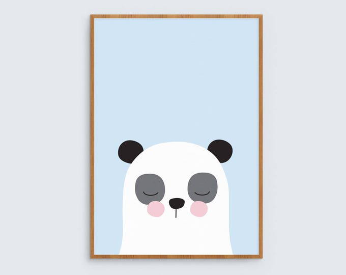 Panda print in blue kids art print // boys room art print // kids wall art // baby boy print / cute blue, black and white panda illustration