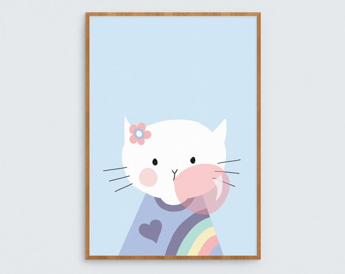 Bubble gum Kitty Art Print