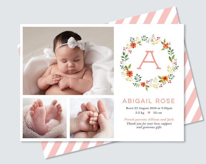 Floral Monogram Baby Girl Birth Announcement Card / Photo Thank You Card Birth Announcement for Baby Girl / Pretty Watercolour floral wreath