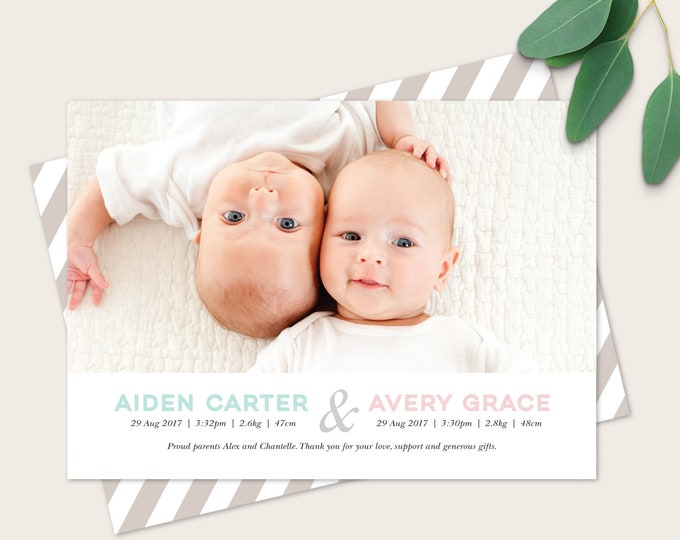 Twin Birth announcement card for either gender/sex / double sided birth announcement card to print yourself, newborn twin girls or twin boys