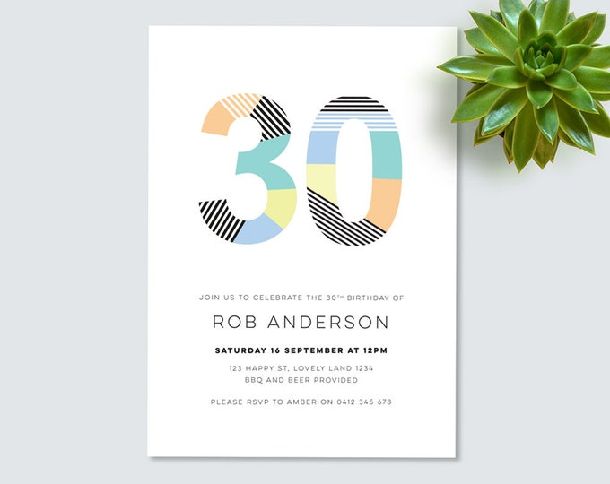 Modern 30th Birthday Invitation for you to print // invitation for men  30th printable birthday party invitation // any age!