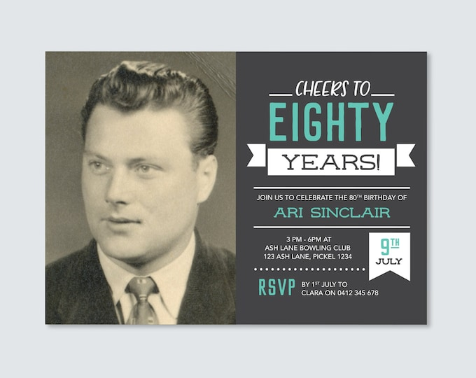Cheers to 80 years! Mens 80th Birthday Invitation - for any age! Eightieth Birthday Invite // Vintage Chalkboard style. Invitation for Men.