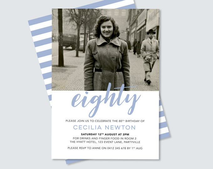 80th Birthday Invitation - Any age! (digital file)