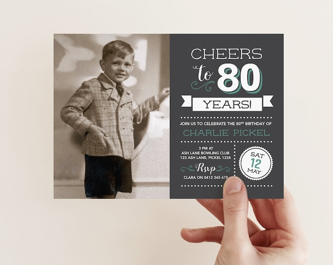 Cheers to 80 years! / Mens 80th Birthday Invitation with photo / 80th Birthday Invitation / Chalkboard Style Vintage Invitation / 60th Party
