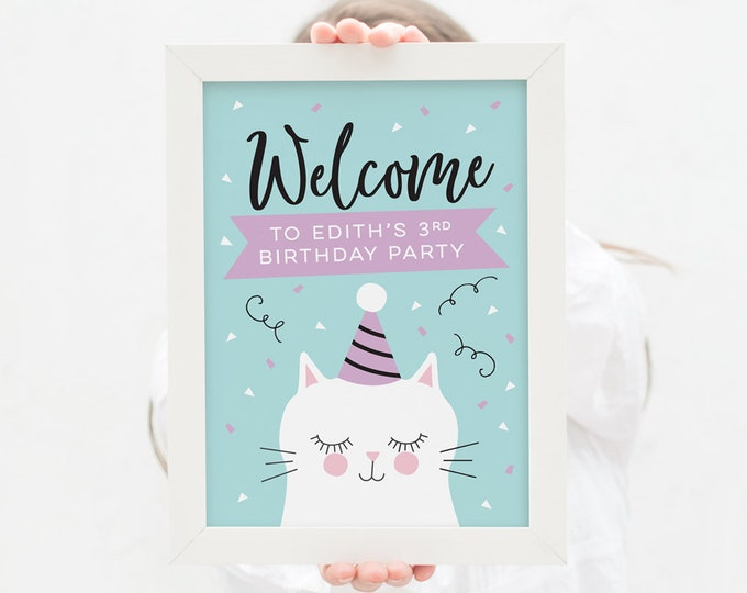Welcome sign for kitty birthday party in teal and purple // 3rd birthday party welcome sign to print // cute cat kids birthday party