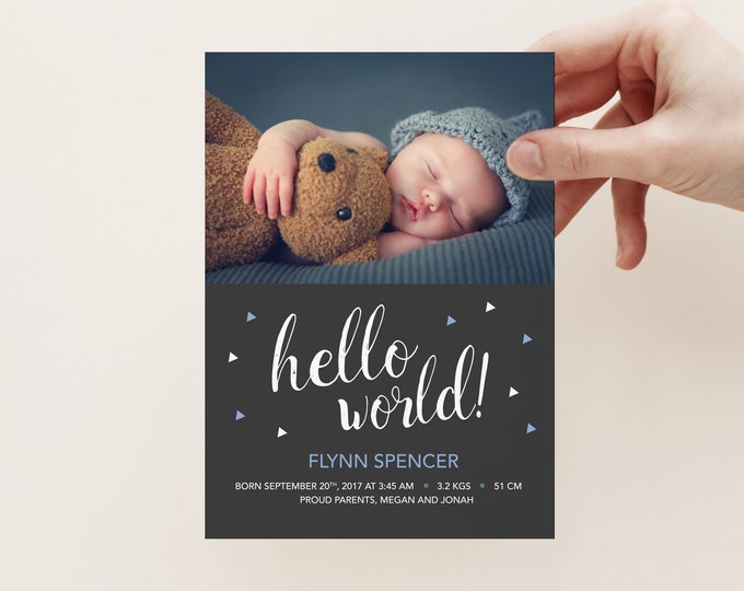 Birth Announcement, baby boy geometric and modern design // printable hello world photo card (digital file) I customise, you print.