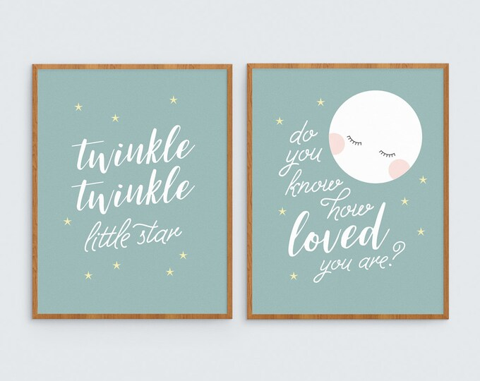 Art Print Twinkle, twinkle little star do you know how loved you are? Kid's Art Print for Girl or Boy, 2 print set of children's nursery art