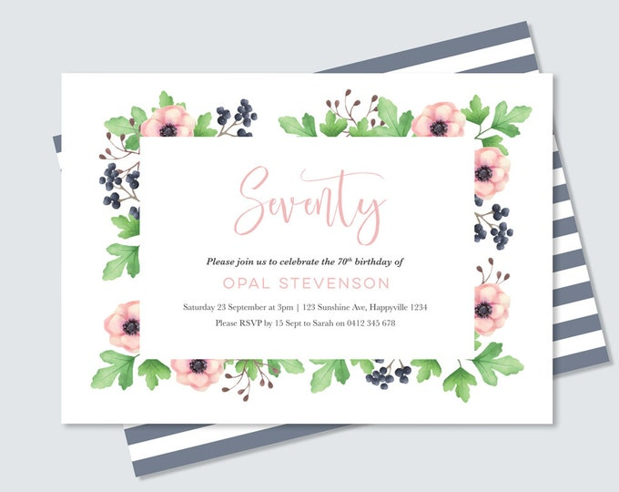 Floral 70th Birthday Invitation - Any Age! Digital File for you to print yourself / Feminine watercolour floral invitation for women 70th