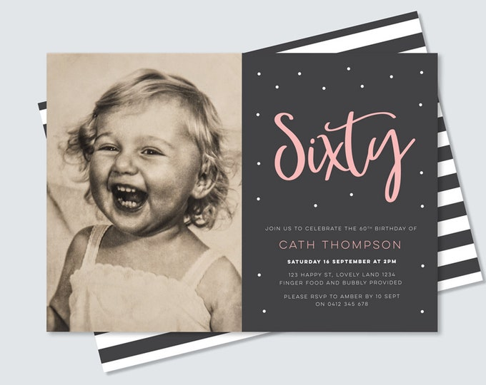 60th birthday invitation with photo - black and white stripe back, pink and black modern 40th birthday invitation for her