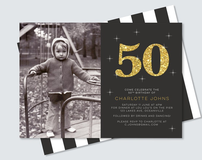 Black and gold 50th birthday invitation with photo and back design // 50th birthday invite, 60th 70th 80th birthday party invitation