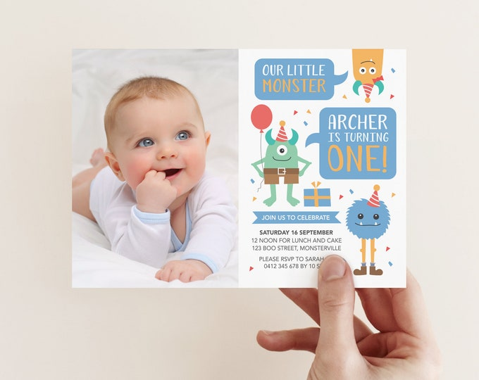 Little Monster Photo Invitation