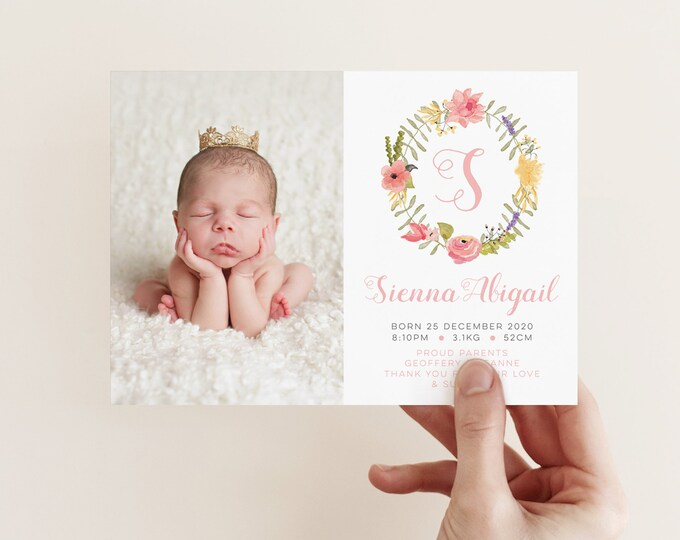 Pretty Floral Girl Birth Announcement / I customise for you to print /Pretty floral wreath monogram / baby girl printable birth announcement