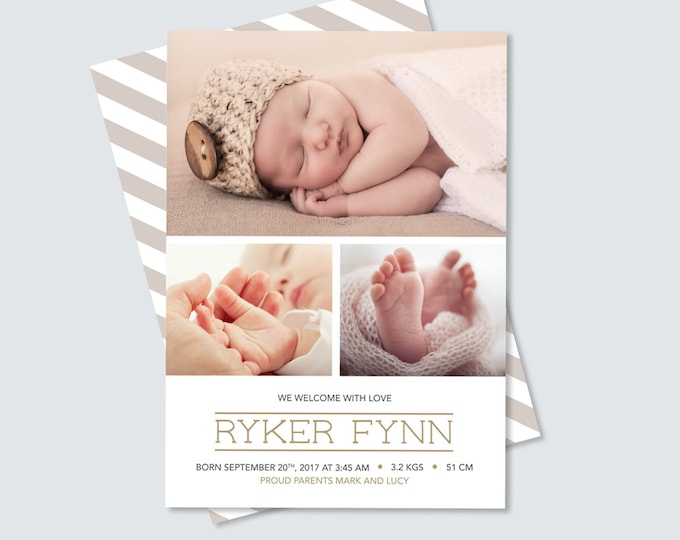 Baby Boy Birth Announcement photo card with multiple photos // Gender neutral announcement for you to print. Modern and professional design