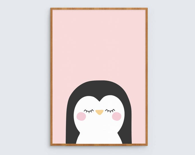 Pink penguin art print for children's room