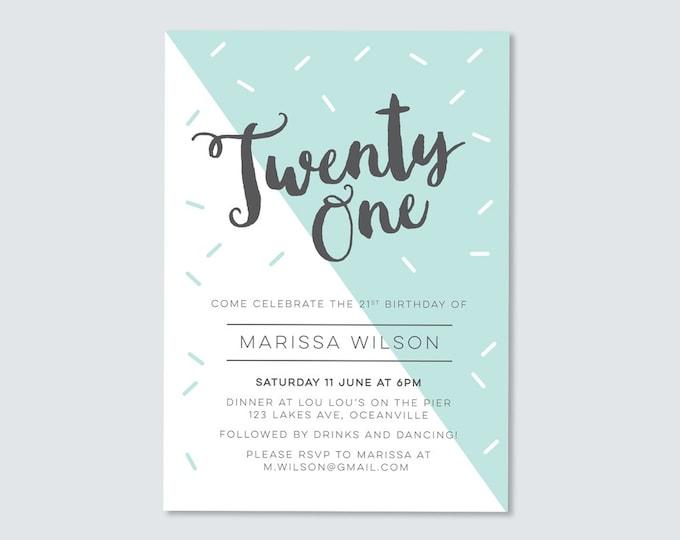Modern geometric 21st Birthday Invitation // pastel mint/teal twenty first birthday invitation // modern and sophisticated // turning 21!