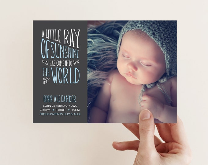 Little Ray of Sunshine Birth Announcement (Digital File)