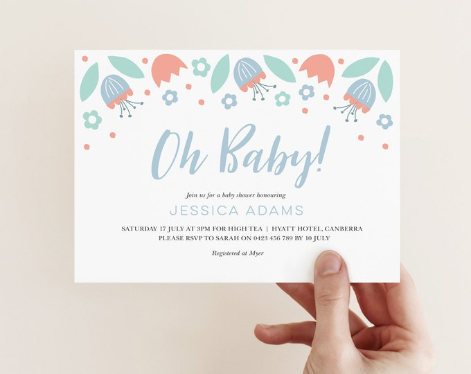 Floral Baby Shower Invitation / Oh Baby Shower Invitation / Baby Boy Baby Shower / Printable File Baby Shower / Pretty Baby Shower Invite