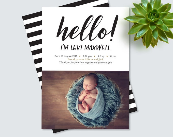 Hello! Black and white Birth Announcement (Digital File)