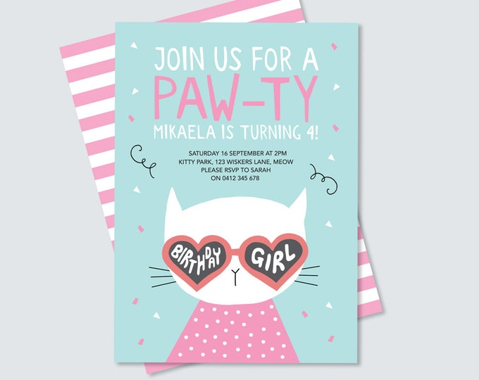 cat/kitten paw-ty invitation in pink and aqua, purr-fect cute illustrated cat party invitation // girl's kitten 4th birthday pink and aqua