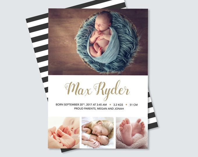Boys Birth Announcement card to print yourself // baby announcement card for baby boy // baby boy birth thank you card with multiple photos