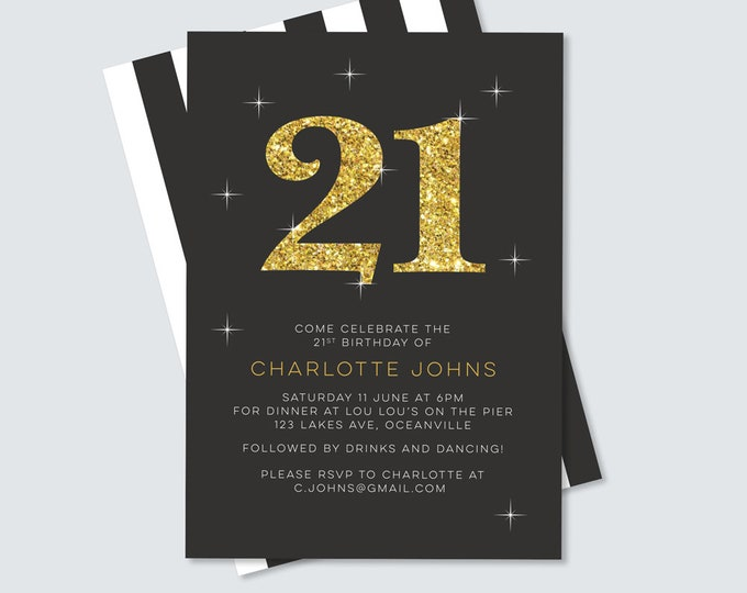 Glitter 21st Birthday Invitation - for any age! (Digital File)