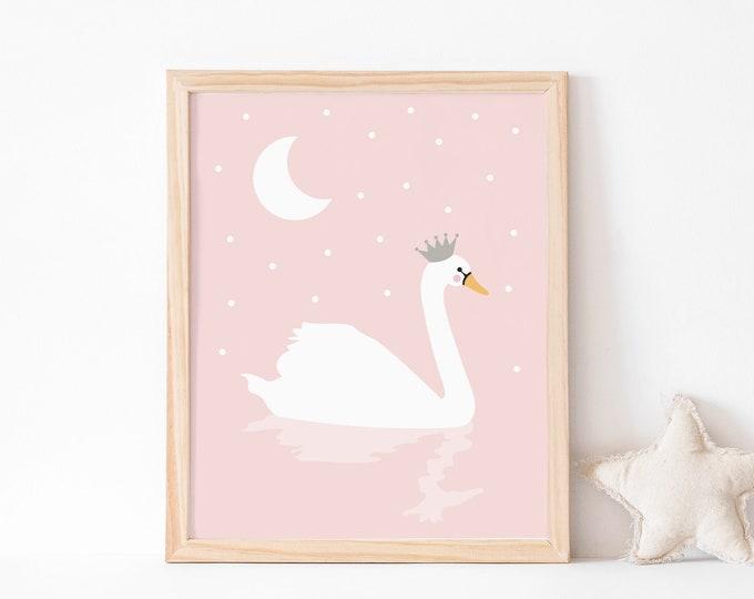 Swan Art Print in pink