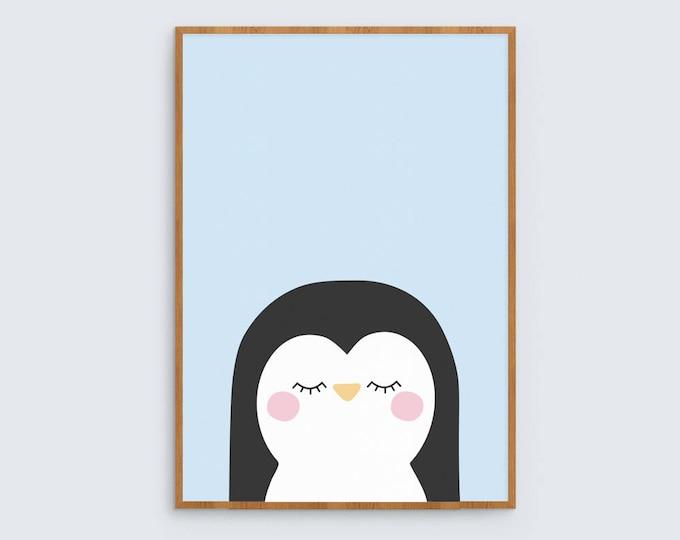 Blue penguin art print for children's room