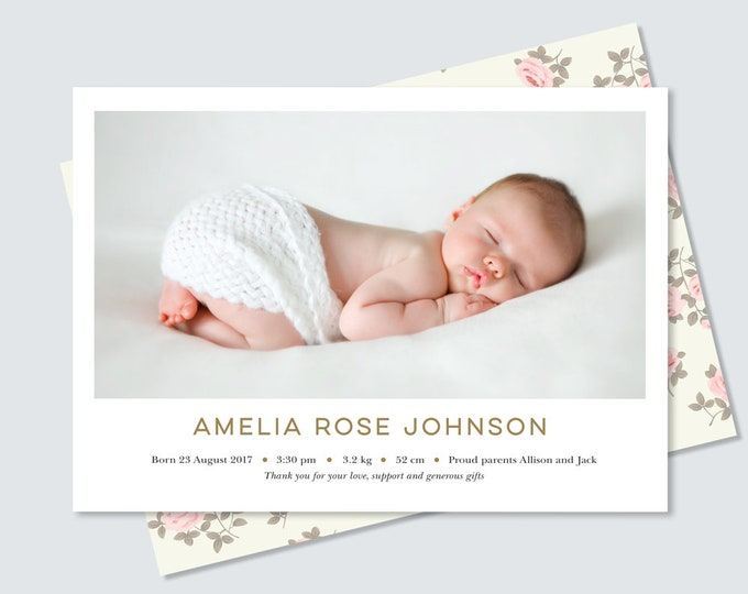 Newborn Baby girl birth announcement in gold, floral pattern // double sided birth announcement card to print yourself