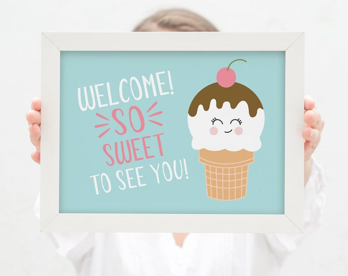 1st Birthday Welcome Sign / First Birthday Party Sign / Ice Cream Girls Birthday Party / DIY Party Printables / Girl's Ice Cream Party Sign