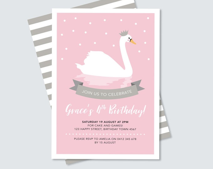 Swan Birthday Invitation / pink and silver, princess swan party invitation / Girl's Birthday Party Invitation / Digital file party printable