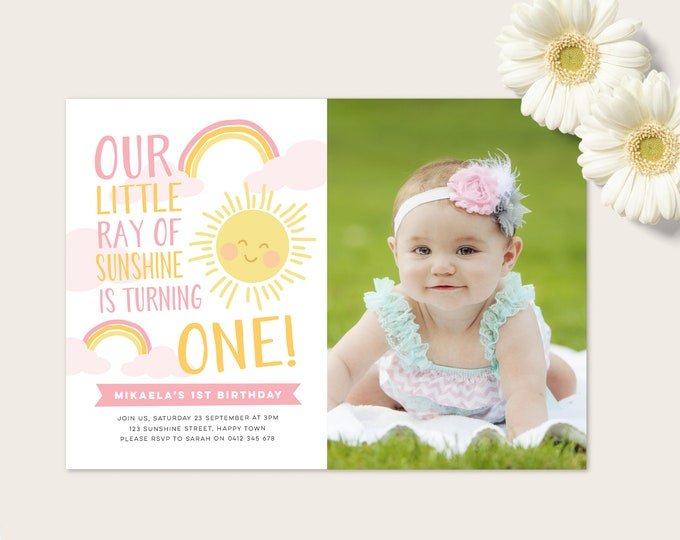 Rainbow and Sunshine Invitation - Pink