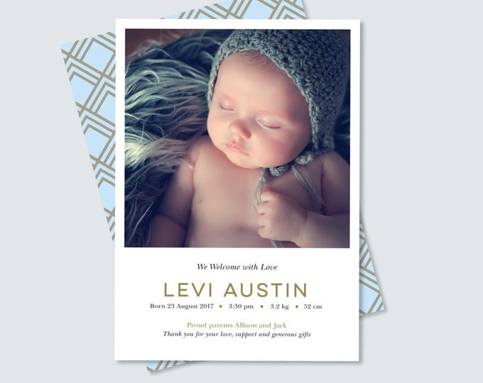Boys double sided Birth announcement card, art deco back in blue and gold, simple, clean and modern design, print yourself! Photo card