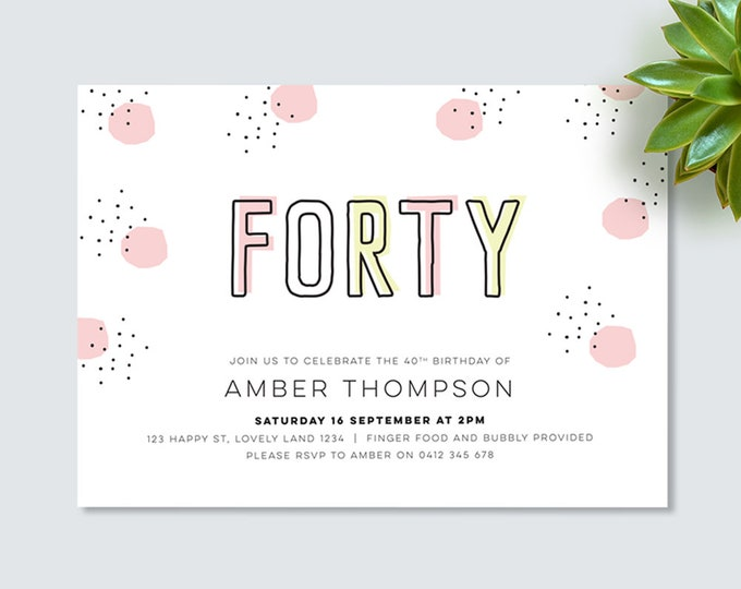 40th birthday invitation for you to print yourself! black and pink spotty modern 40th birthday invitation for her