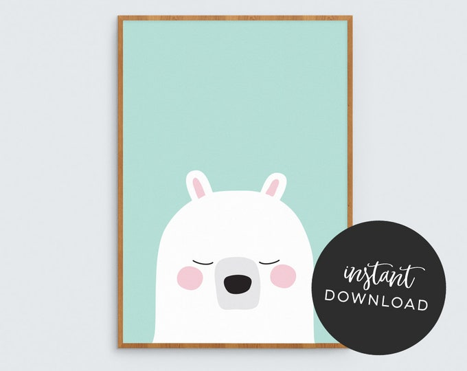Teal Bear Art Print (INSTANT DOWNLOAD)