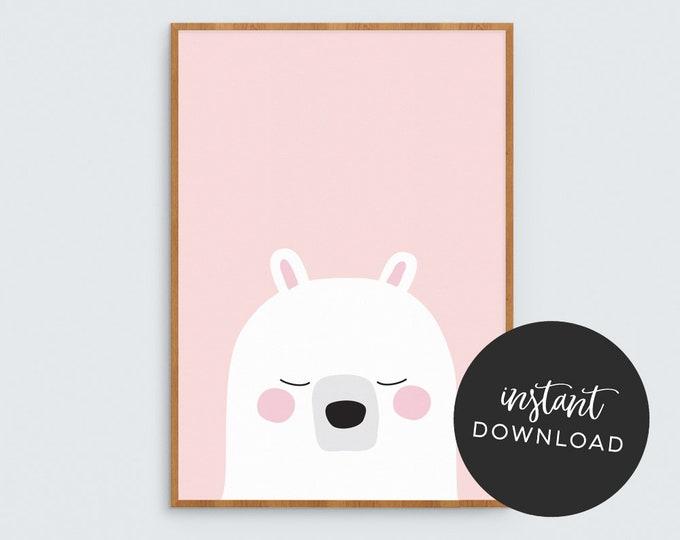 Pink Bear Art Print (INSTANT DOWNLOAD)
