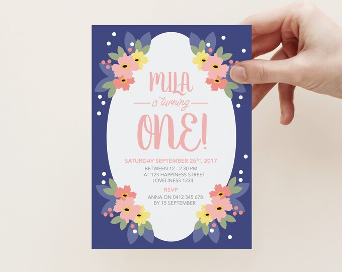 Girl's floral 1st birthday invitation, double sided, navy and peach floral, bright, fun and colourful, 1st, 2nd, 3rd, 4th, 5th party