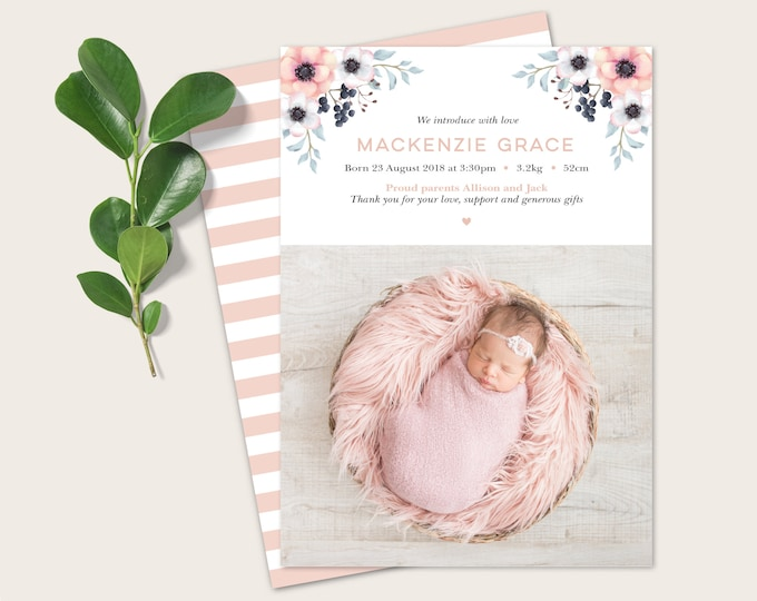 Baby Girl Birth Announcement, Thank You Card with Photo  and beautiful watercolour flowers / Pretty Floral Birth Announcement Card - Digital