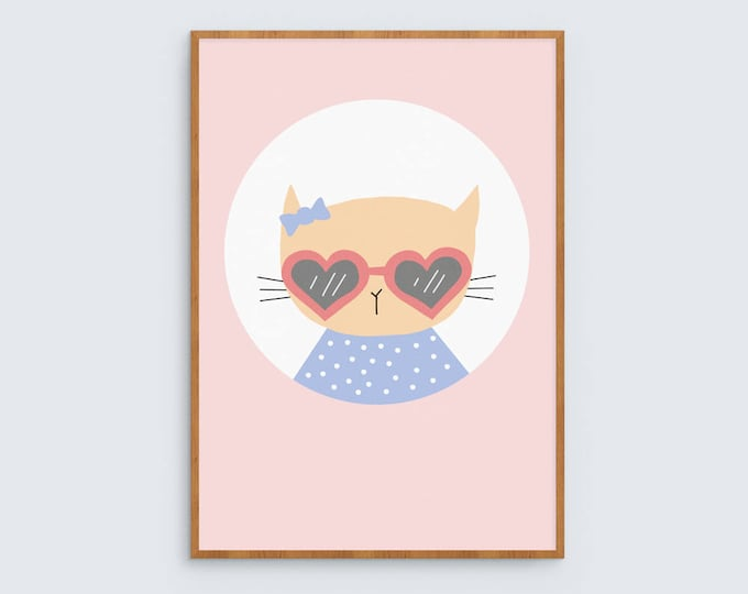 Kitty in Sunglasses Art Print