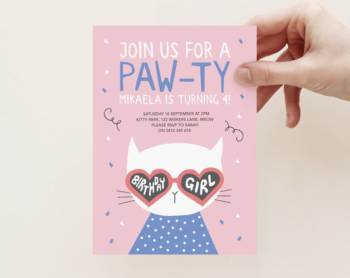 Kitty cat pawty invitation in pink and blue, cute cat wearing love heart sunglasses, kids kitten invitation, you got to be kitten me!