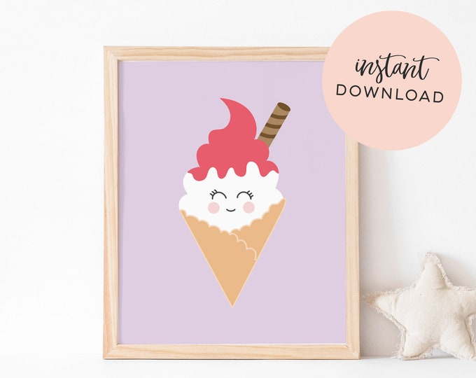 Purple Ice Cream Art Print (INSTANT DOWNLOAD)