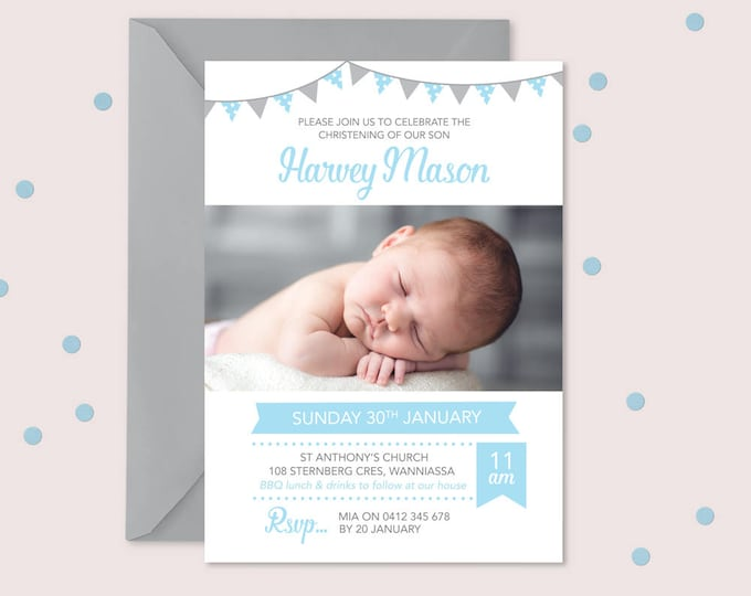 Photo Christening/Baptism invitation with bunting // I customise for you to print // Modern and clean design // blue and grey bunting