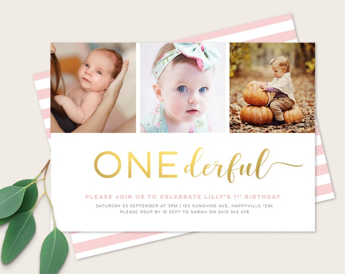 Onederful Girls 1st Birthday Invitation