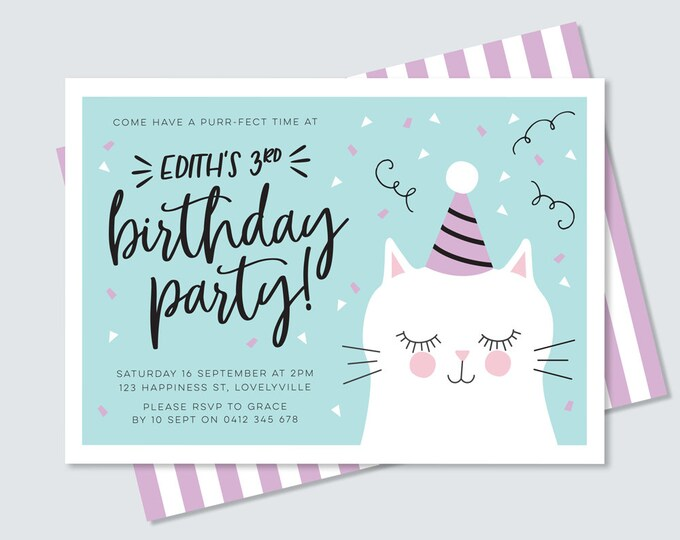 Kitty cat birthday invitation in teal and purple, purr-fect cute illustrated cat party invitation // are you kitten me kid's birthday invite