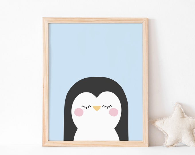 Blue penguin art print for children's room