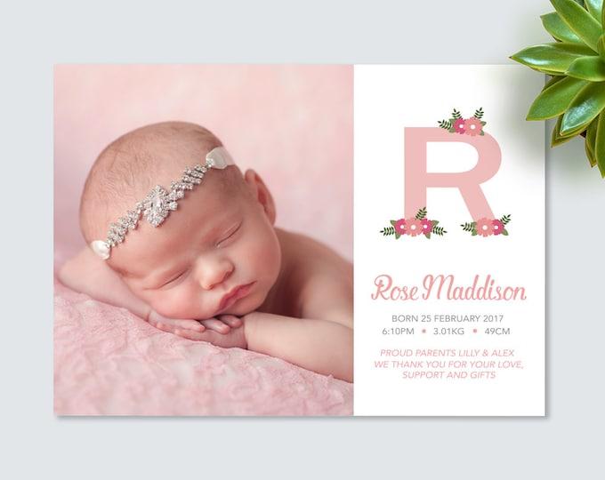 Floral monogram Baby Girl Birth Announcement (Digital File)