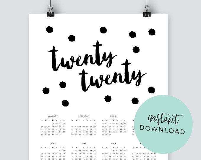 Instant download 2020 back and white spotty calendar