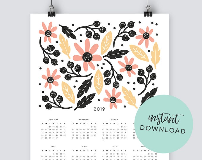 Illustrated Botanical 2019 Calendar - INSTANT DOWNLOAD