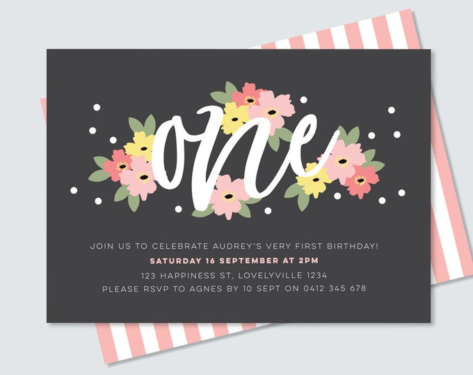 Floral 1st birthday invitation card to print yourself // pink flowers first birthday invitation for baby girl featuring modern type ONE