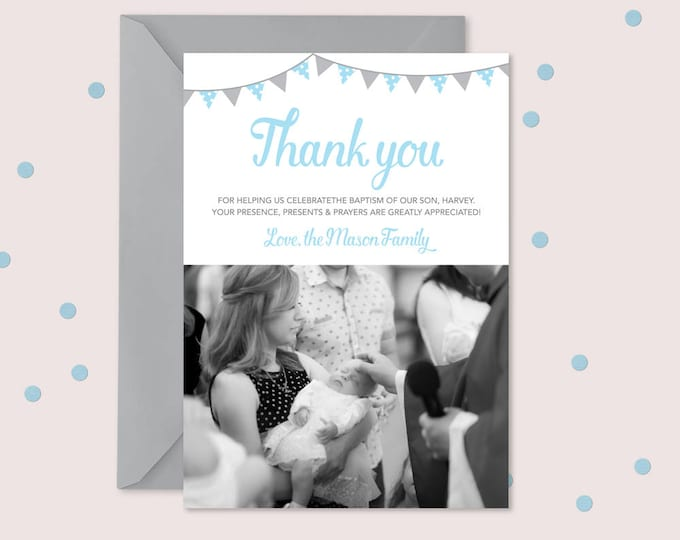 Thank you card for Christening/Baptism with bunting // I customise for you to print // Modern and clean design // blue and grey bunting